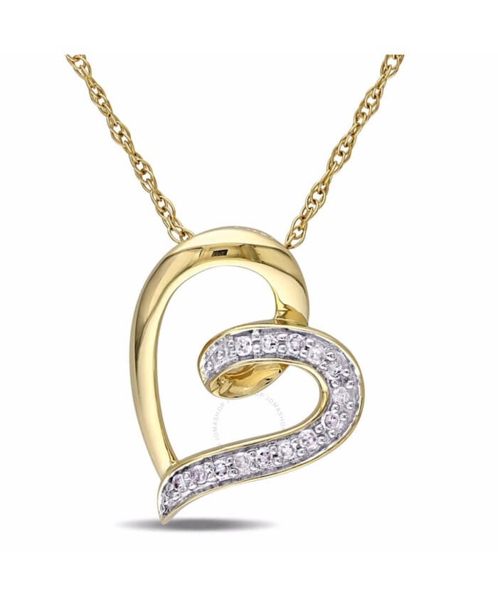 10k yellow gold heart shape 06 ct diamond pendant aloadofball Image collections